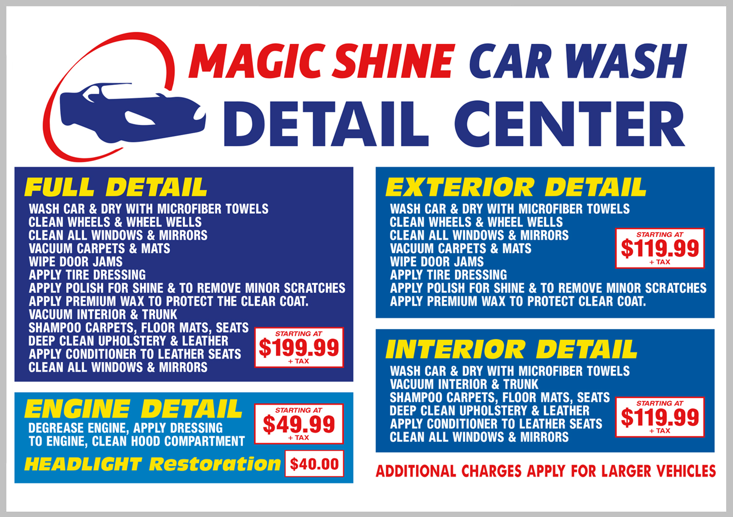 Car Detailing Prices >> Magic Shine Car Wash Detail Center